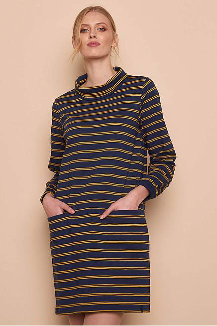 Heavy Slub Dress    navy stripes