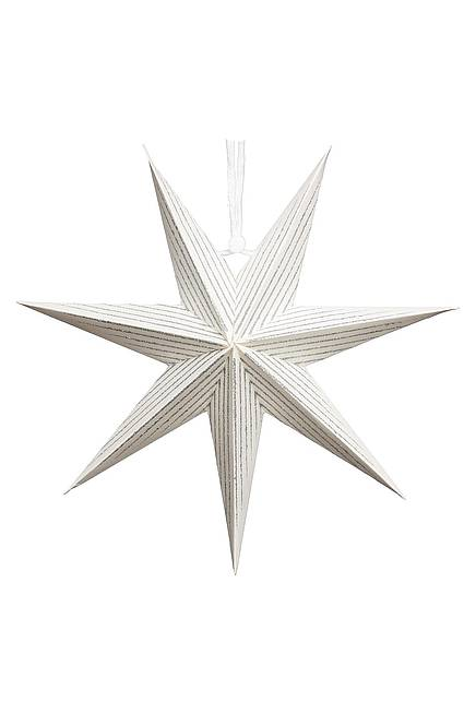 Paper Star 20 cm lined white-silver